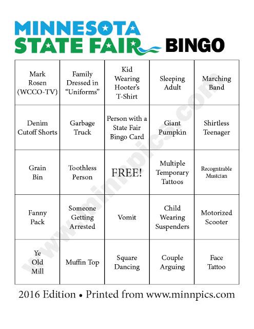 2016 Minnesota State Fair Bingo Card #2 - minnpics.com