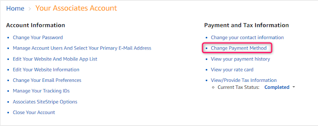 Amazon US Affiliate account settings