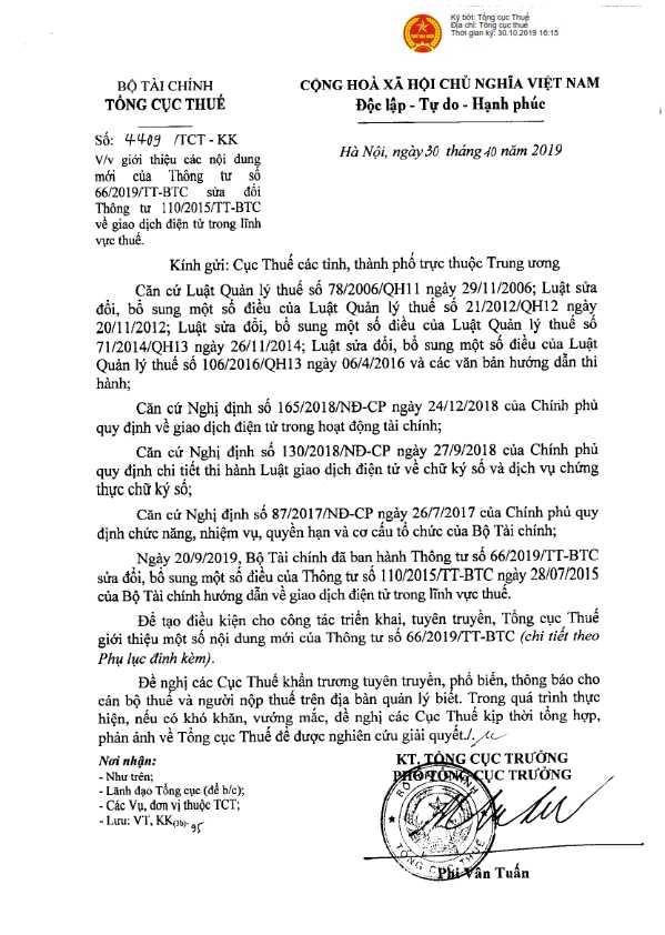 Công văn 4409/TCT-KK về giao dịch điện tử trong lĩnh vực thuế.