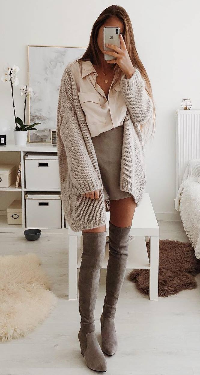 elegant fall outfit idea / oversized cardigan + blouse + skirt + grey over knee boots