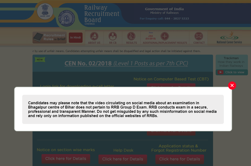RRB Group D 2018: Video on Bihar exam centre is fake, says Railway Recruitment Board