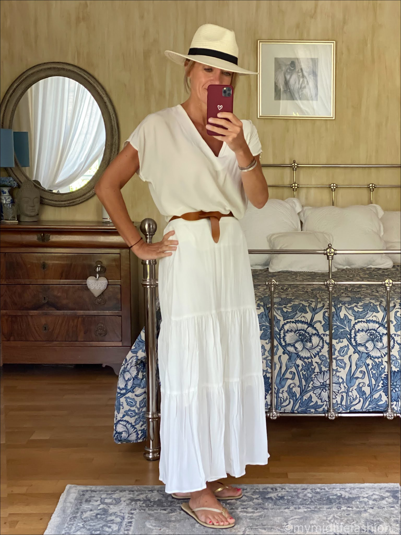 my midlife fashion, phase eight aspenne maxi skirt, Alexia silk blouse, Isabel Marant etoile lecce leather belt, Zara Panama hat, havaianas slim fit gold flip flops