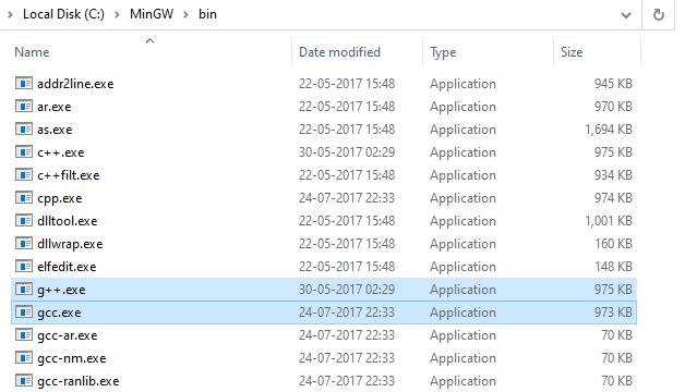 MinGW folder - bin folder