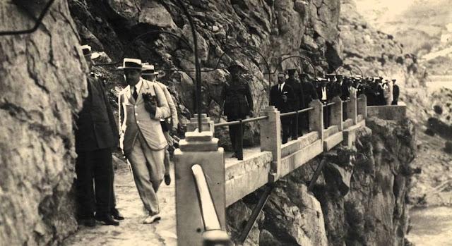 Król Hiszpanii Alfons XIII na El Caminito del Rey
