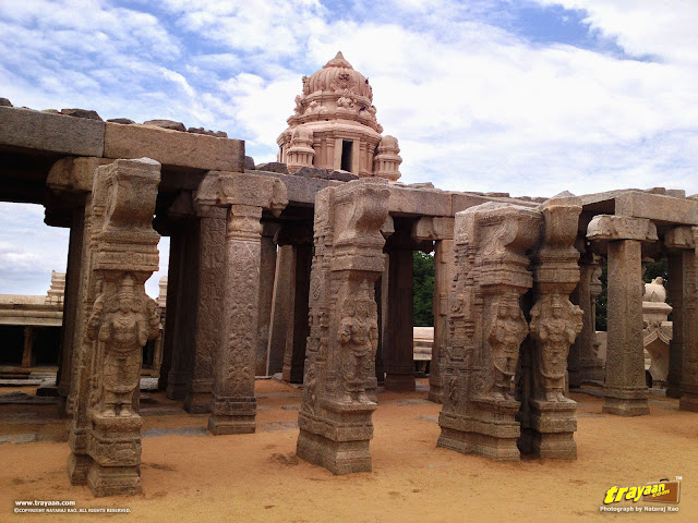 The unfinished Kalyana Mandapa, or Marriage Hall inside the Veerabhadra Swamy Temple complex at Lepakshi, in Andhra Pradesh, India