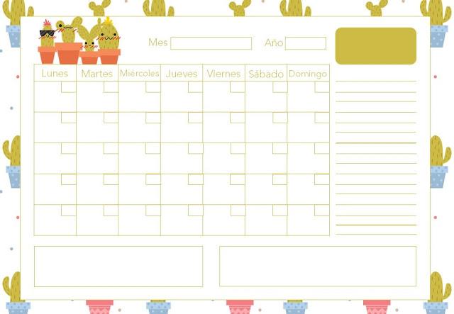 Calendario mensual de cactus gratis