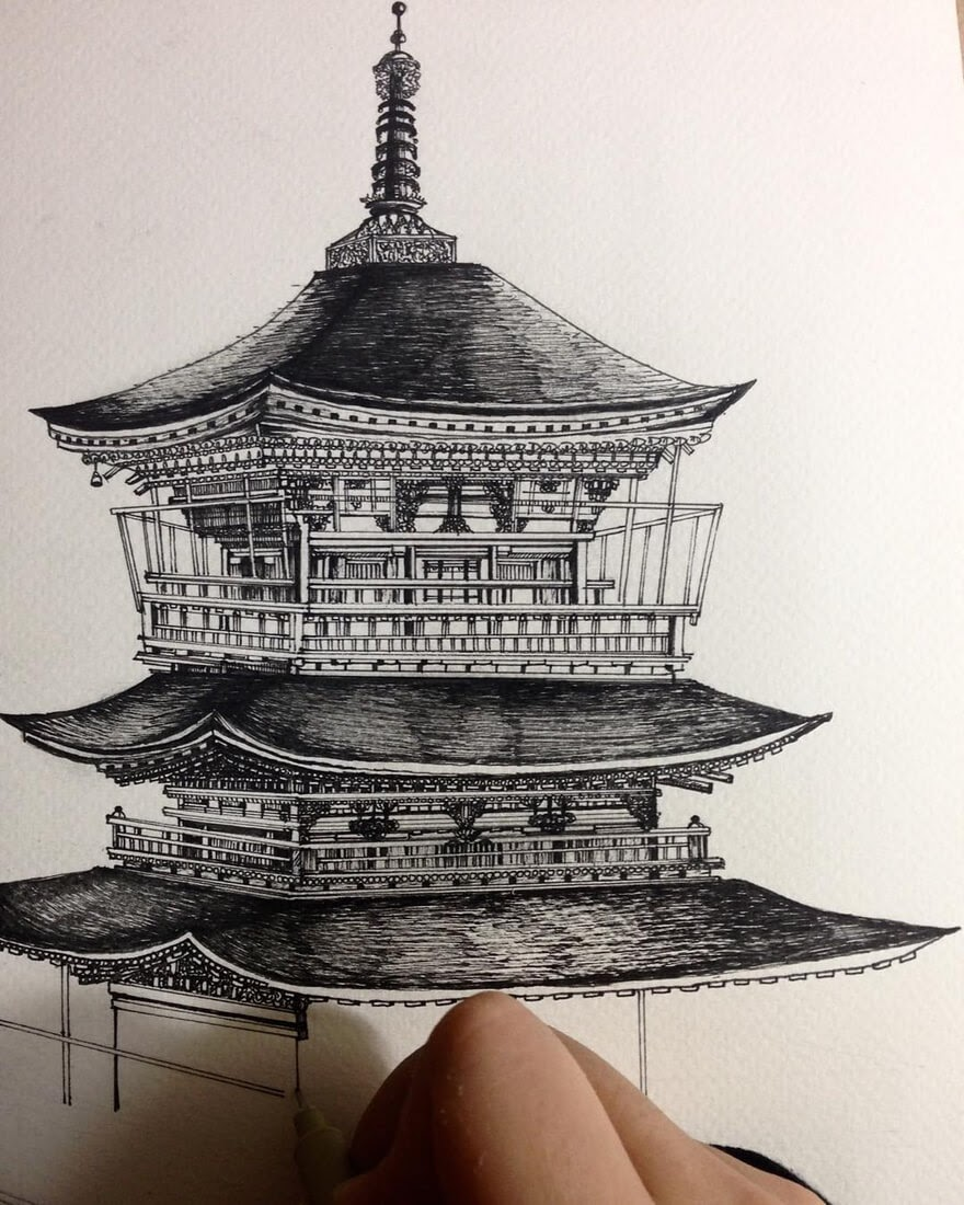 09-Eastern-Architecture-Emi-Nakajima-Detailed-Architectural-Drawings-Real-and-Imaginary-www-designstack-co