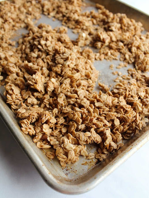 sheet pan of granola fresh from the oven
