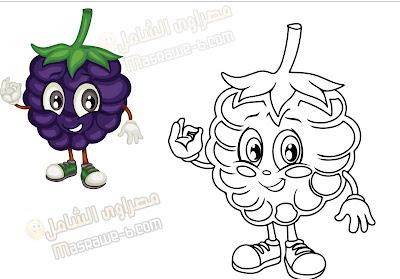 رسومات للتلوين فواكه وخضروات 2