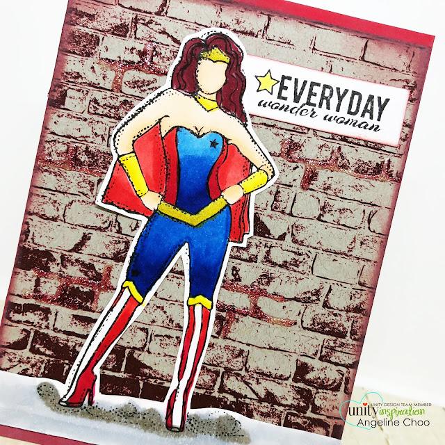 ScrappyScrappy: Brutus Monroe - Unity Stamp Blog Hop #scrappyscrappy #unitystampco #brutusmonroe #backgroundstamp #quicktipvideo #youtube #stamp #stamping #card #cardmaking #papercraft #copicmarkers #nuvoglitterdrop #hitthebrick #brickwall #dianagirl #angiegirl #wonderwoman #superhero #distressoxide #timholtz