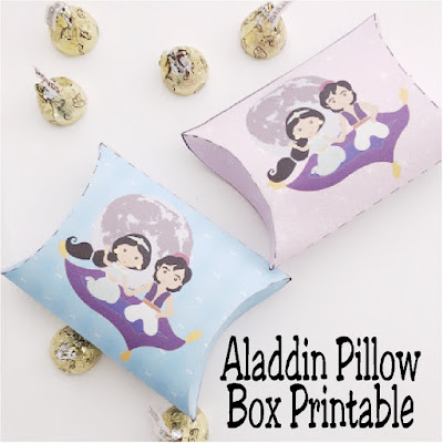 Print this easy and fun Aladdin pillow box for your next Aladdin party or Princess Jasmine party.  It's the perfect party decoration or party favor when filled with yummy treats for all your guests.