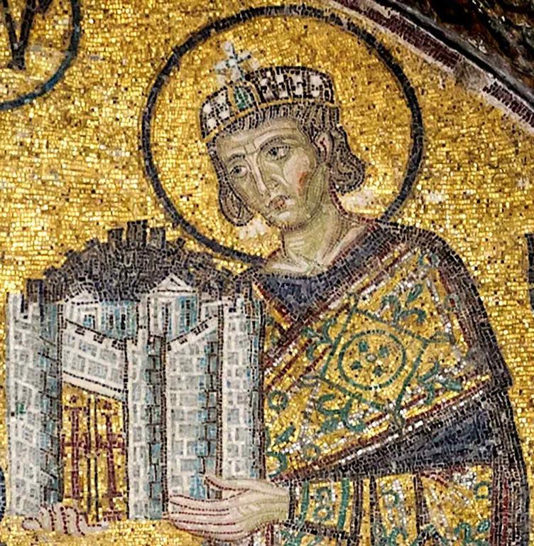 Imperador Constantino cedeu Roma à Igreja e fundou Constantinopla. Mosaico em Agia Sofia, Bizâncio