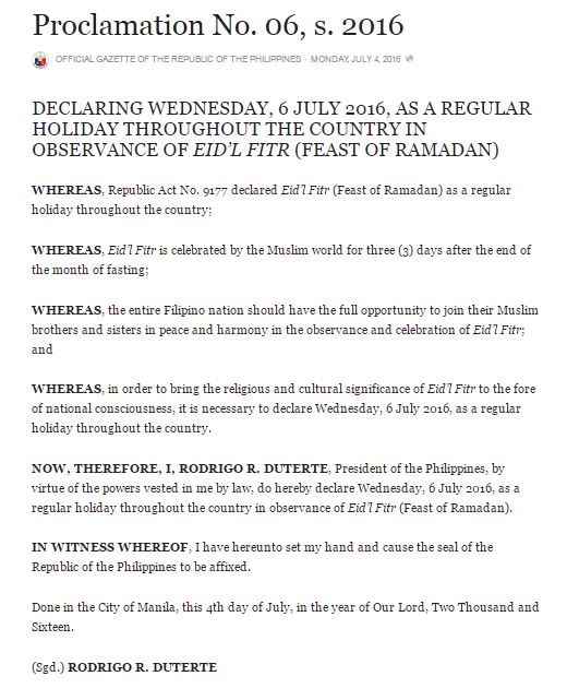 Duterte finally declares July 6 a regular holiday for Eid'l Fitr