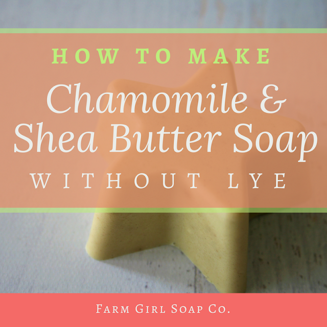Learn how to make chamomile shea butter soap without lye, using the super simple melt and pour method. This gentle soap bar is moisturizing and perfect for borth face and body.