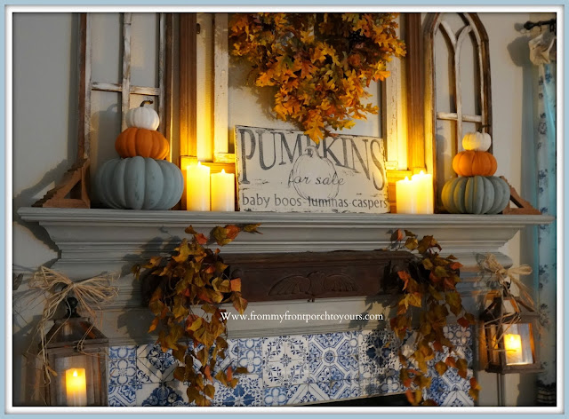 Farmhouse Cottage Fall Fireplace Mantel-FlamelessCandles-From My Front Porch To Yours