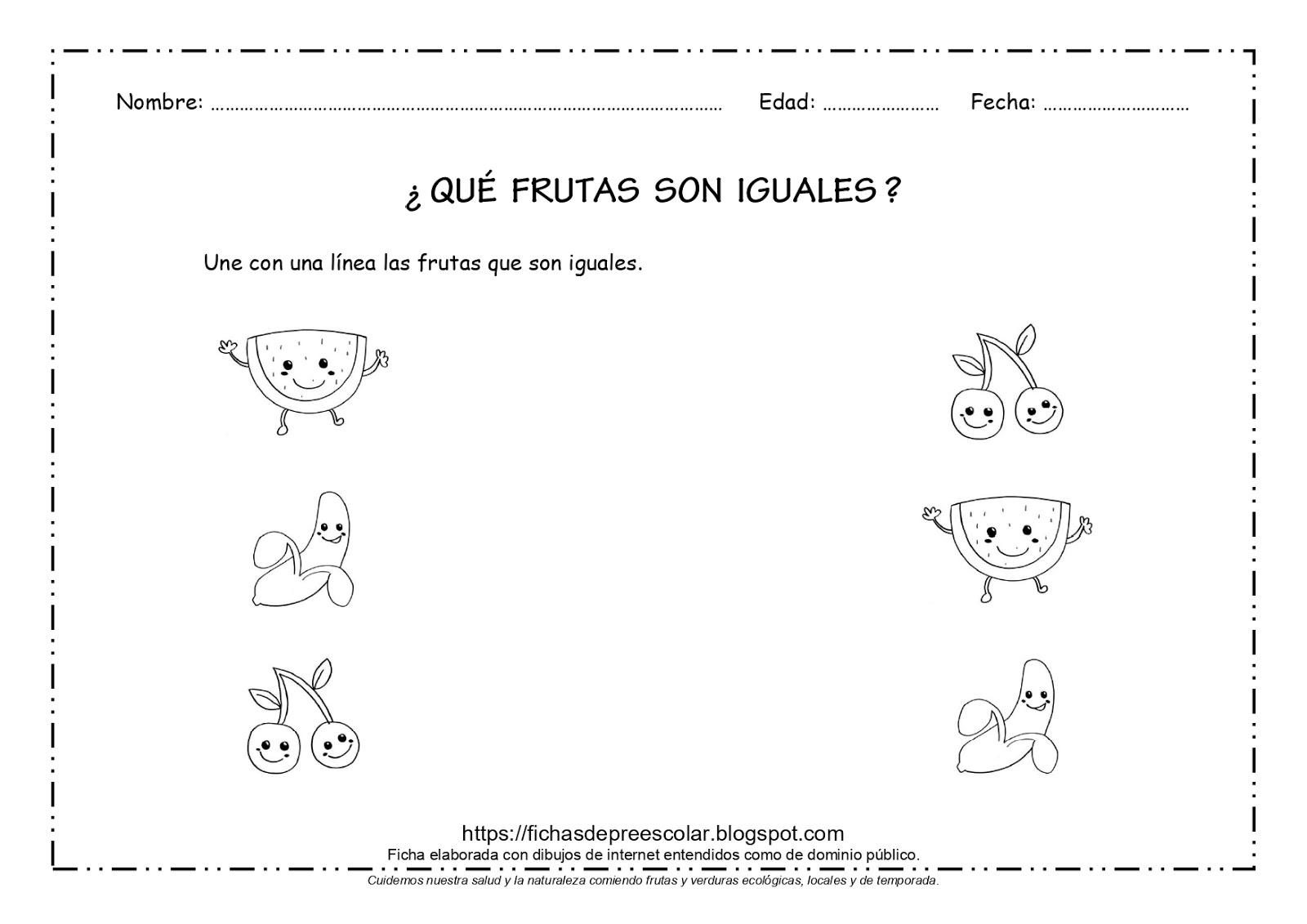 Fichas De Educación Preescolar Qué Frutas Son Iguales