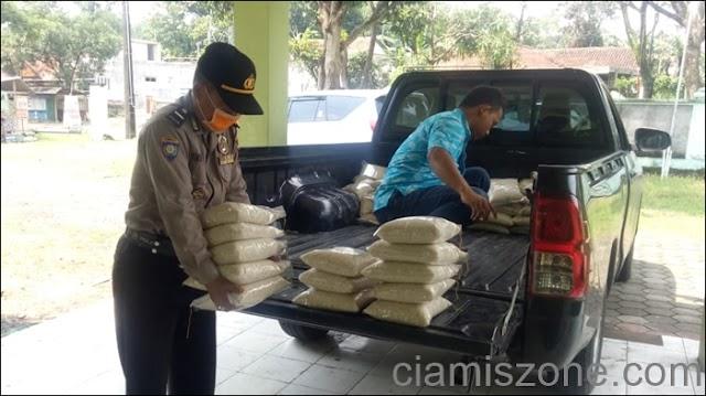 Bantu Manula, Polres Ciamis Salurkan Beras 1 Ton