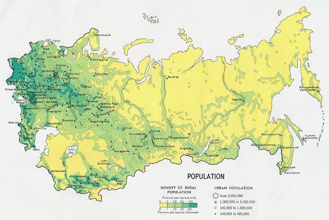 Distribución de la población en la URSS en 1973