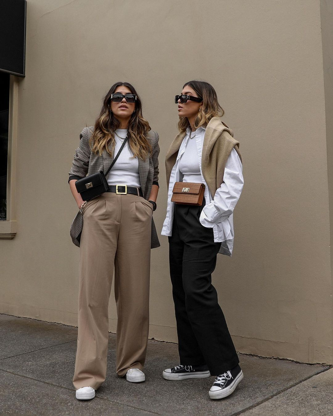 These Outfits Are Packed with All the Neutral Basics You Need — @twiceblessed Instagram outfit ideas with blazers, sweaters, and sneakers