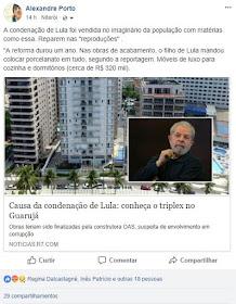 """Manipuladora: Portal R7 cometeu crime contra Lula: divulgou fotos falsas do triplex do Moro e agora apagou sem informar ao público o """"erro"""""""