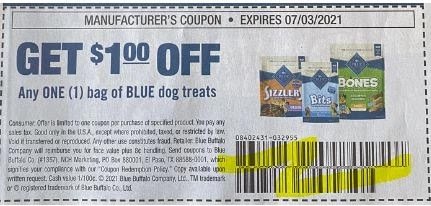 """USE """"TWO"""" $1.00/1 any Blue Dog Treats Coupon from """"SMARTSOURCE"""" insert week of 6/13/21."""
