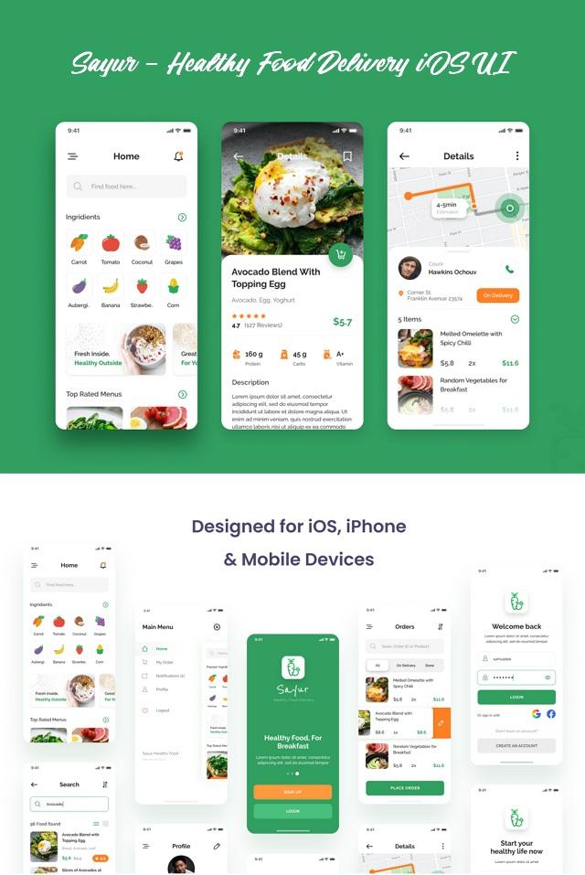 Healthy Food Delivery iOS UI App Design