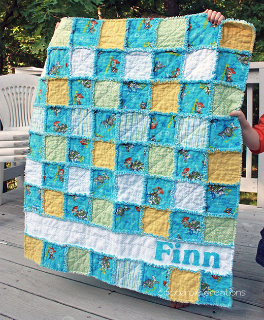 Personalized Rag Quilt designed by Krysta Leydsman Fecke of Cocoa Pie Creations