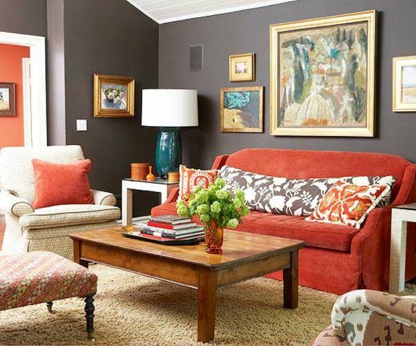 Sala color naranja y gris colores en casa - Decoracion con color naranja ...