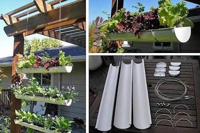 Huerta vertical con caños de PVC