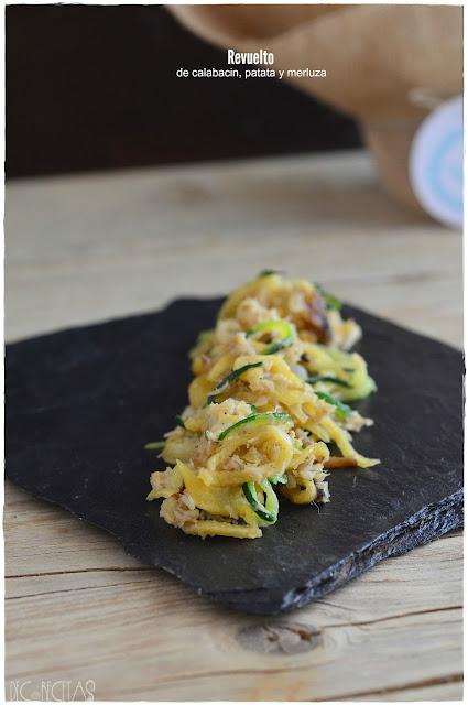 Revuelto de calabacin, patata y merluza