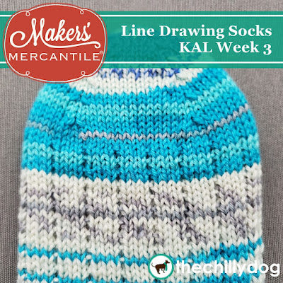 Line Drawing Socks KAL with Makers' Mercantile: This week we are knitting the toe of our sock using four point or four corner shaping with our Zitron Art Deco yarn and addi FlexiFlip needles