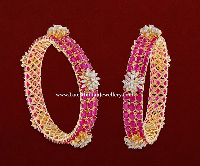 Diamond Flower Ruby Bangles