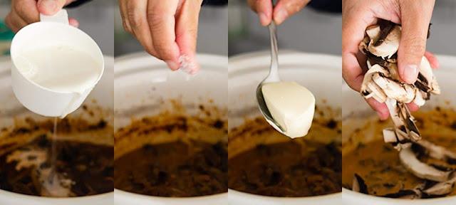add sour cream, milk and mushroom to beef stroganoff image