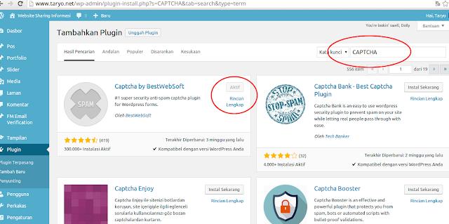 Cara Mudah menambahkan Kode Keamanan (CAPTCHA) di Wordpress