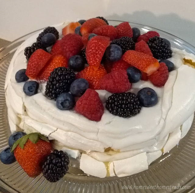 Home Sweet Homestead - Summer Berries Pavlova Cake #SummerDessertWeek Crispy on the outside, marshmallow-y soft on the inside meringue, coconut whipped cream, and fresh summer berries come together to make a deliciously beautiful dessert, that couldn't be easier to make!