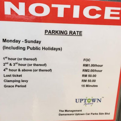 Starling mall upper floors carparks rates display board