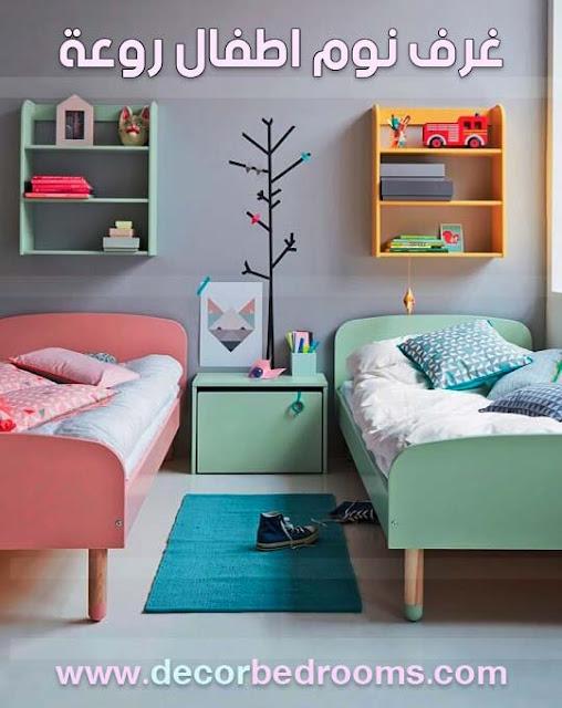 أفكار غرف نوم اطفال تتوفر على سريرين