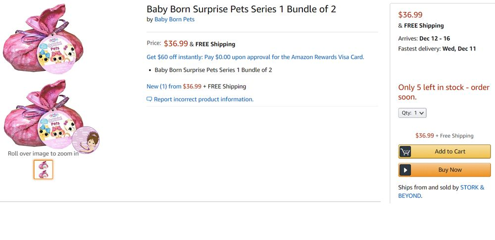 Baby Born Surprise Pets price