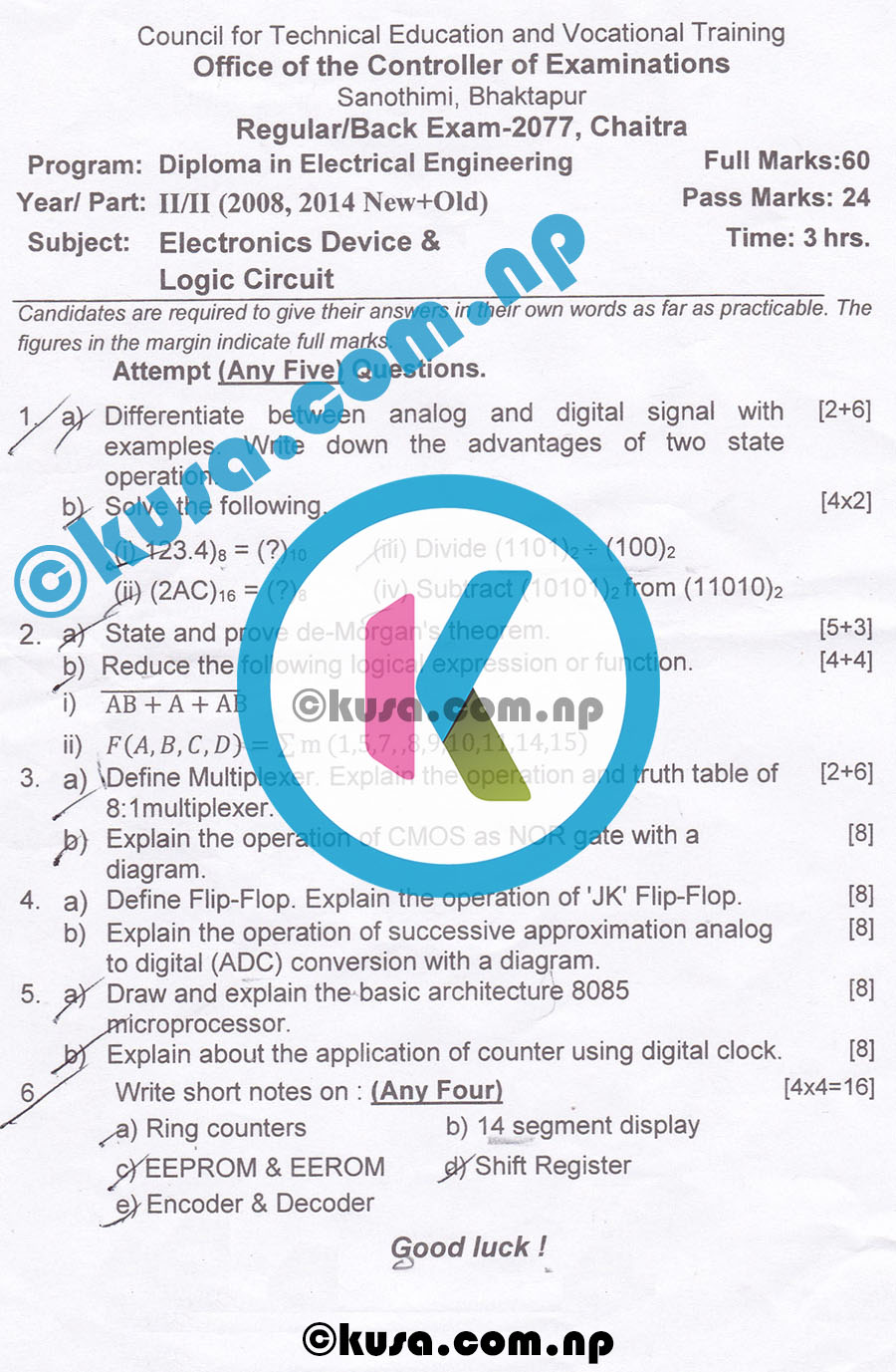 CTEVT-Diploma-Level-Second-Year-Second-Part-Electronics-Device-and-Logic-Circuits-Question-Paper-2077