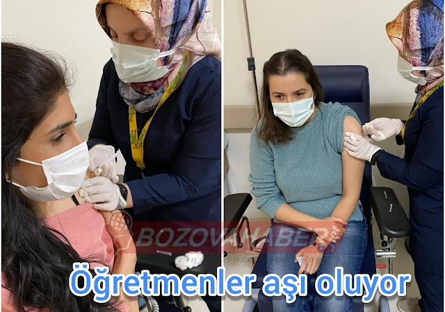 Yaslıca'da öğretmenler aşı oluyor