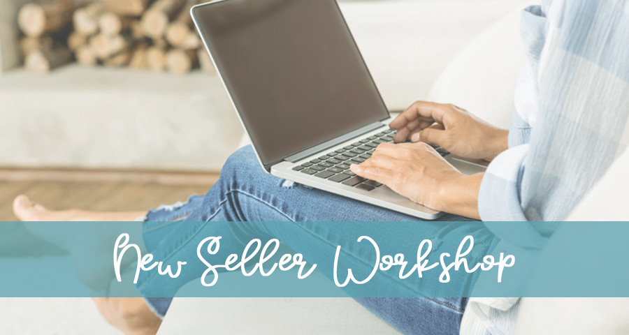 Text - New TPT Seller Workshop, Image of woman's legs with laptop