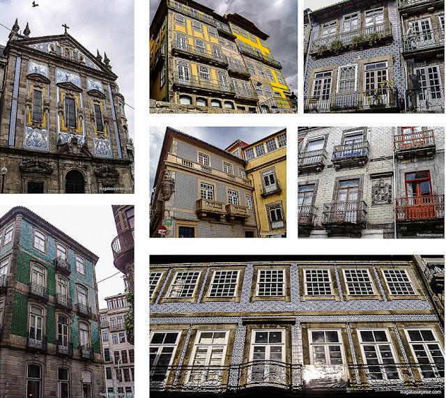 Azulejos em fachadas da Cidade do Porto, Portugal