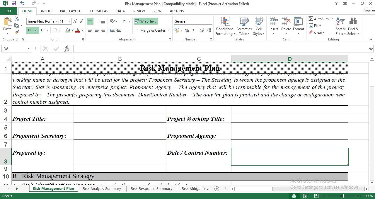 Risk Management Plan sheet