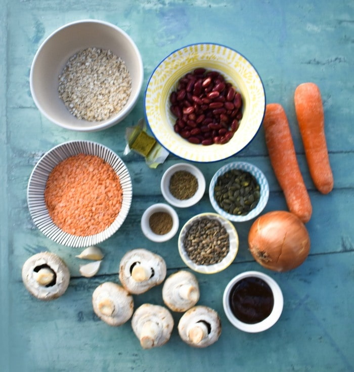 ingredients to make vegan haggis