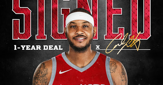 Rockets GM Daryl Morey announced today that the team has signed free agent forward Carmelo Anthony