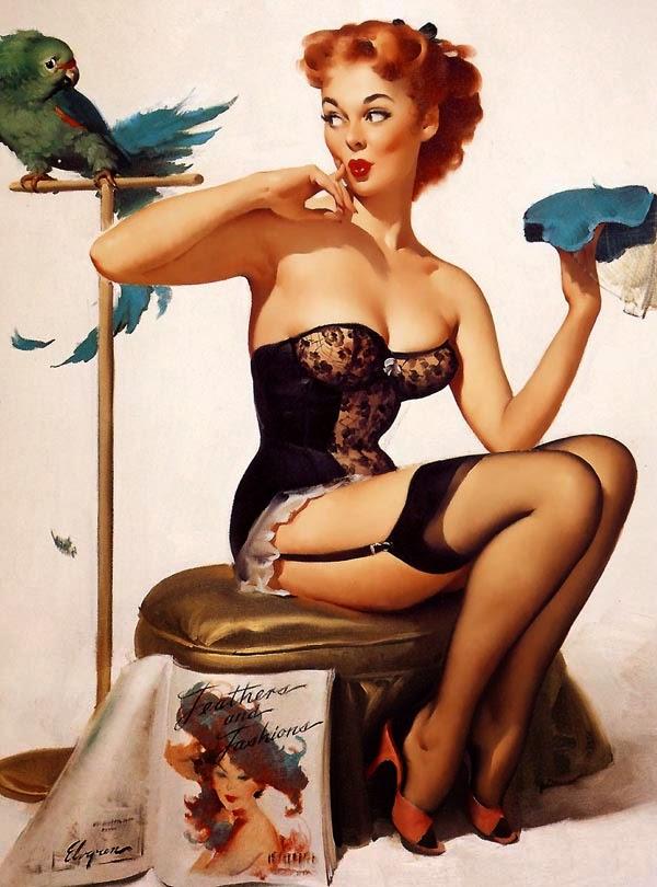 ilustración de chica sexy con lenceria estilo pin up