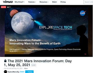 Mars 2021 Innovation Forum (Source: Explore Mars Inc.)