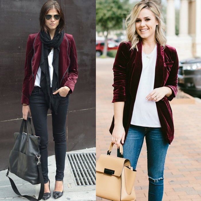 velvet blazer skinny jeans winter outfit fashion