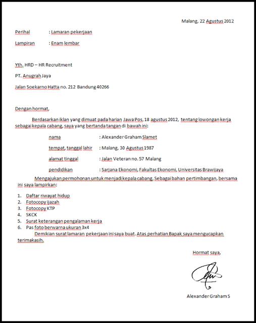 Contoh Surat Lamaran Kerja Simpel (via: madreview.net)