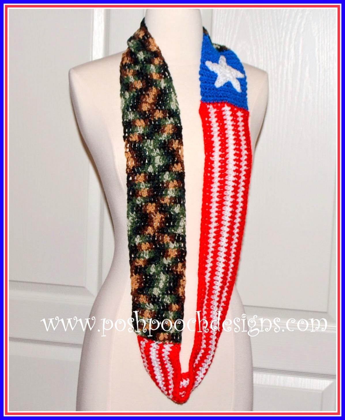 Crochet American Flag Scarf Pattern : Posh Pooch Designs Dog Clothes: American Freedom Scarf ...